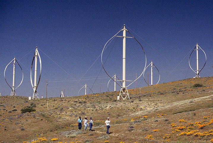 FloWind Darrieus turbines seen on the Cameron Ridge during the annual Windmill-Wildflower hike in the Tehachapi Pass in the 1980s.